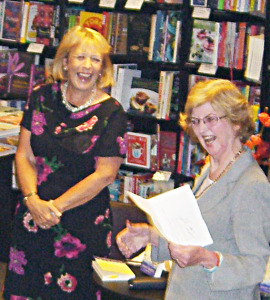 Sharing a joke with author Eileen Ramsay.